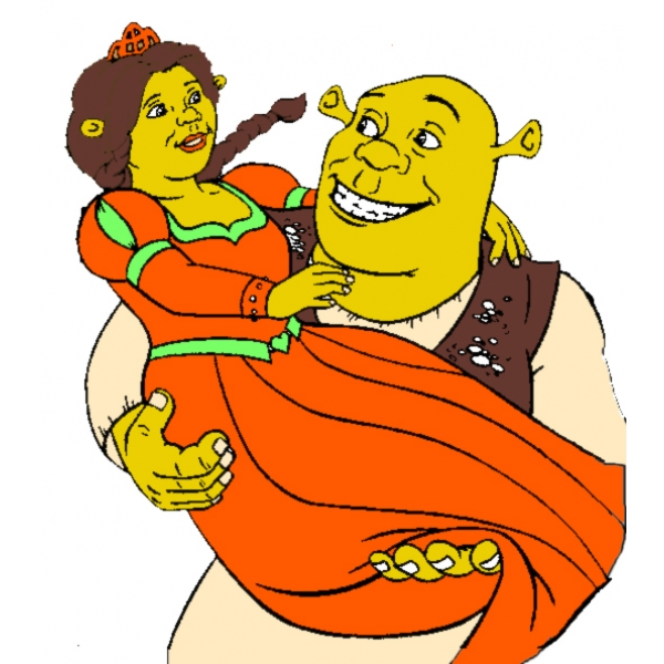 Disegno di Shrek e Fiona a colori
