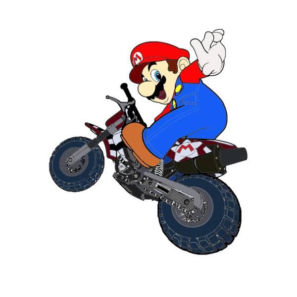 Disegno di super mario bros in moto a colori per bambini