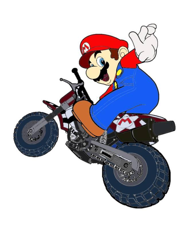disegno di Super Mario Bros in Moto a colori