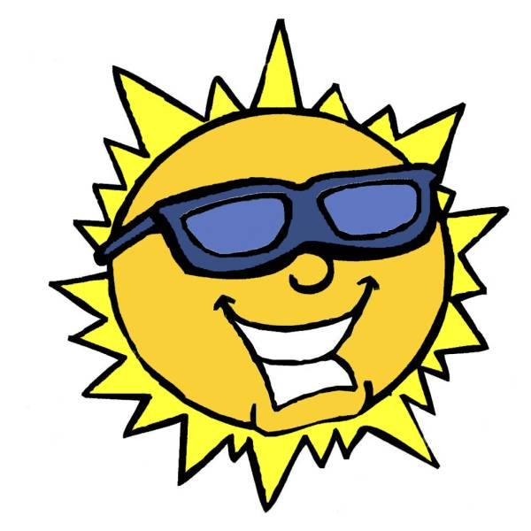 Disegno di il sole con gli occhiali a colori per bambini for Sole disegno da colorare