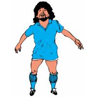 Disegno di Diego Armando Maradona a colori