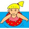 disegno di Bambina con Salvagente a colori