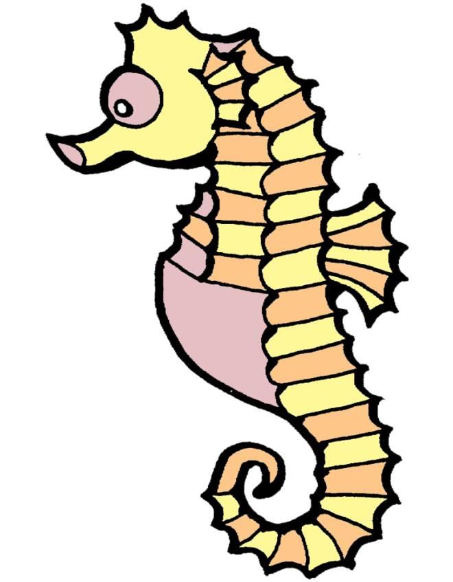 Disegno di cavalluccio marino a colori per bambini for Cavalluccio marino da colorare