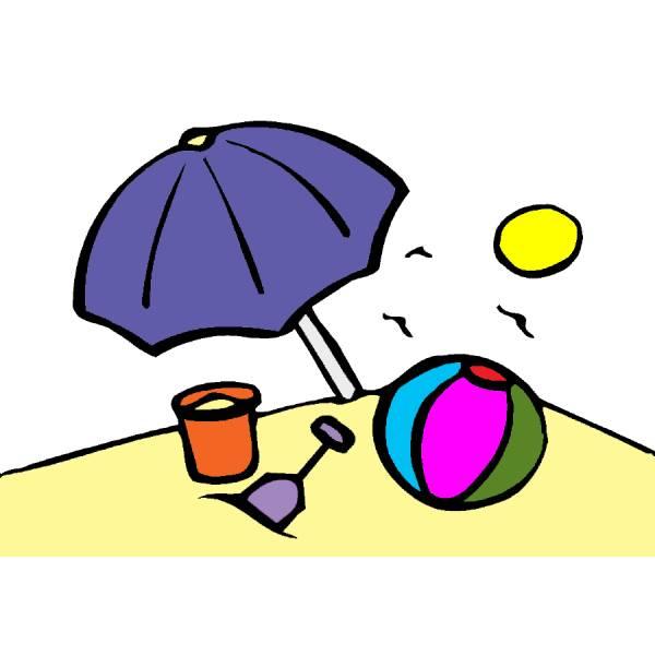 Disegno Di Spiaggia A Colori Per Bambini