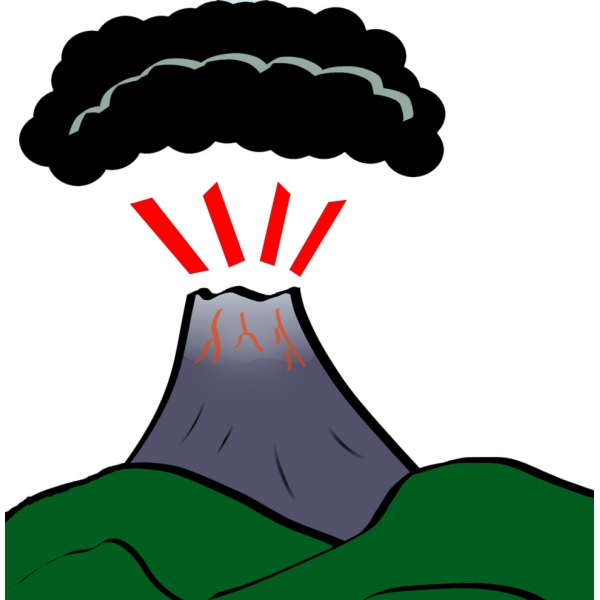 Disegno di Vulcano a colori