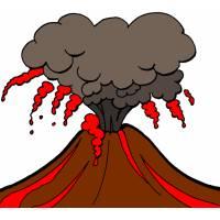 Disegno di Vulcano in Eruzione a colori