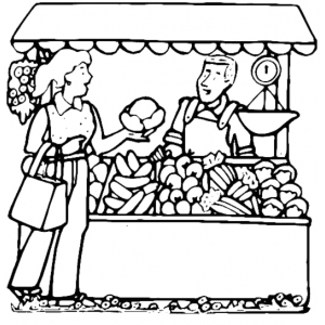 Disegno di banco di frutta da colorare per bambini gratis - Colorare le pagine di verdure ...
