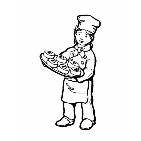 Disegno di Cuoco Pasticcere da colorare
