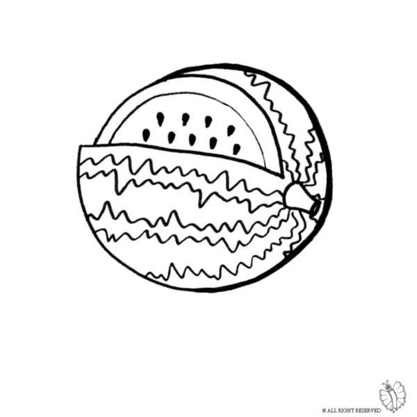 disegno di anguria da colorare per bambini