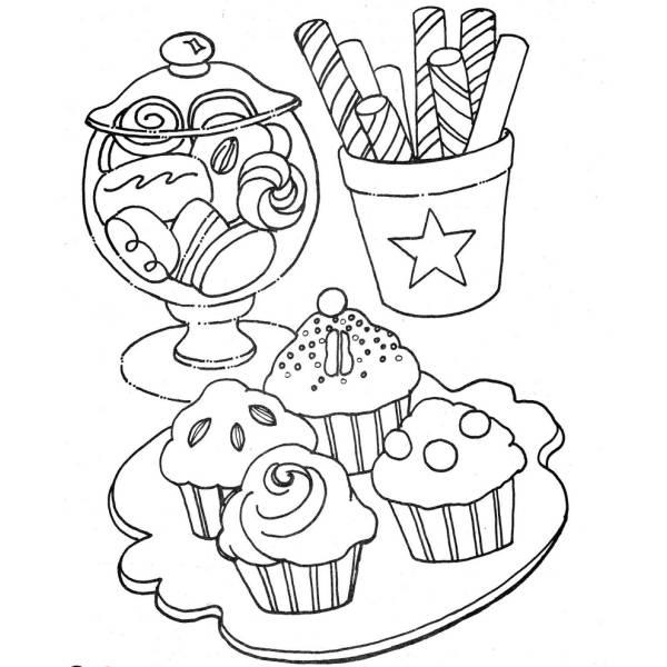 Disegno di dolci e dolcetti da colorare per bambini for Disegni per mosaici da stampare