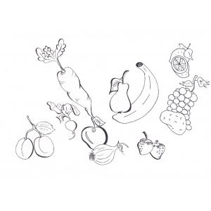 Disegno di frutta e verdura da colorare per bambini gratis for Frutta online