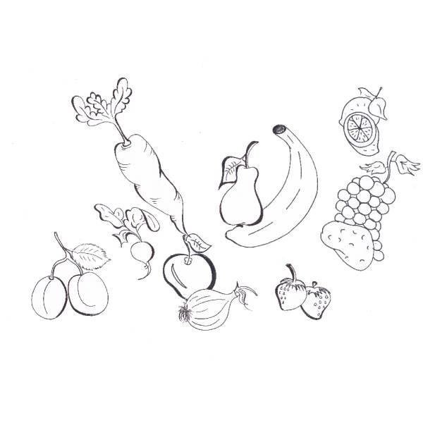 Disegno di Frutta e Verdura da colorare