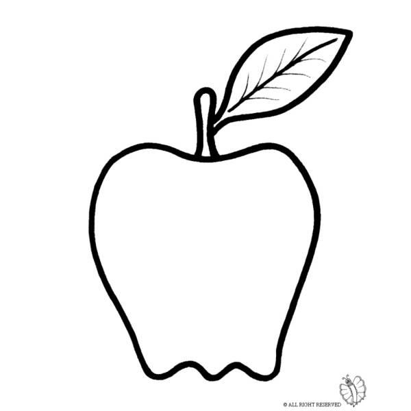 Disegno Di Frutta Mela Da Colorare Per Bambini