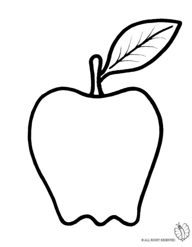 Disegno di frutta mela da colorare per bambini for Frutta da colorare e ritagliare