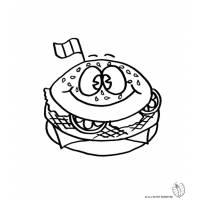 Disegno di Panino Hamburger da colorare
