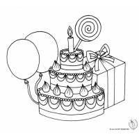 Disegno di Torta Compleanno con Lecca Lecca da colorare