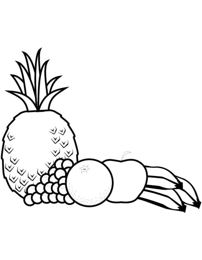 Disegno Di Frutta Mista Da Colorare Per Bambini