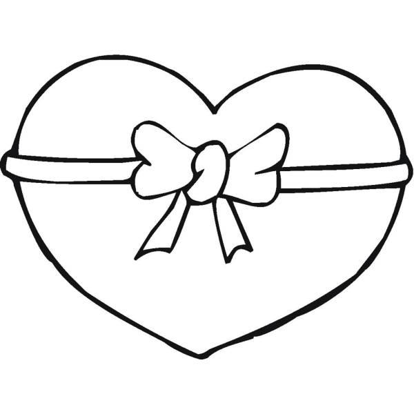 Disegno di cuore con fiocco da colorare per bambini for Disegni da colorare con cuori