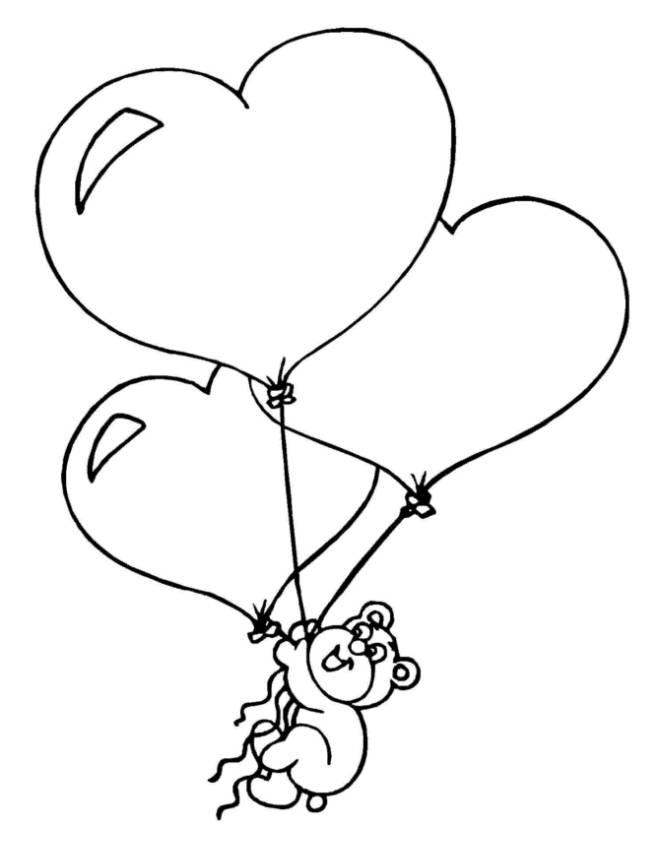 Stampa disegno di cuori palloncini da colorare for Disegni da colorare con cuori