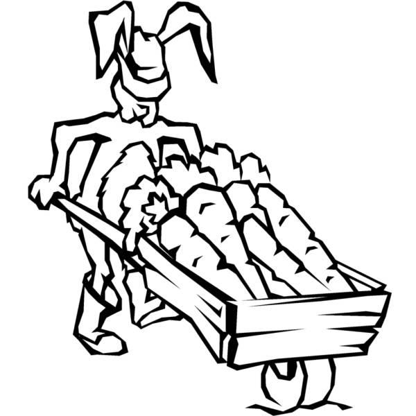 Disegno di Coniglio con Carote da colorare