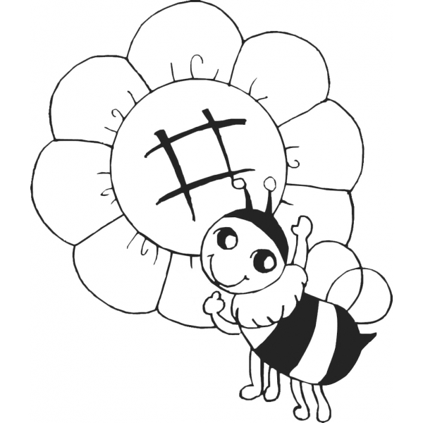 Disegno di l 39 ape sul fiore da colorare per bambini for Immagini api per bambini