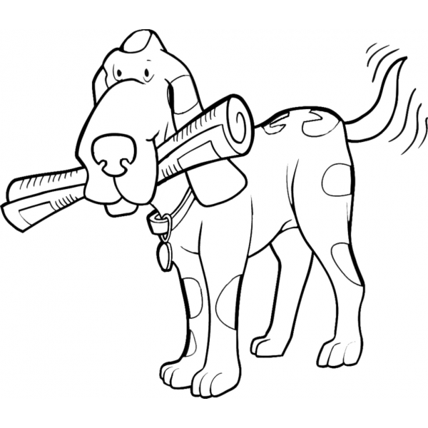 Disegno di il cane col giornale da colorare per bambini for Disegno cane per bambini