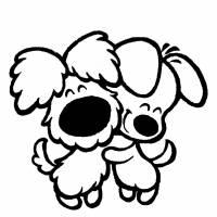 Disegno di Cuccioli di Cane Affettuosi da colorare