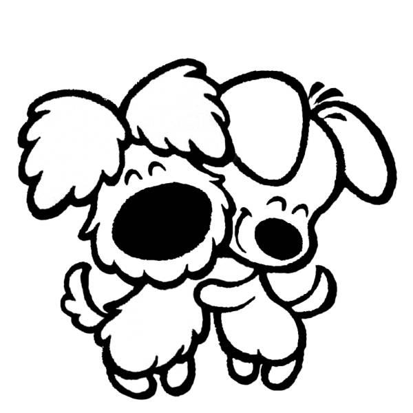 Disegno Di Cuccioli Di Cane Affettuosi Da Colorare Per Bambini