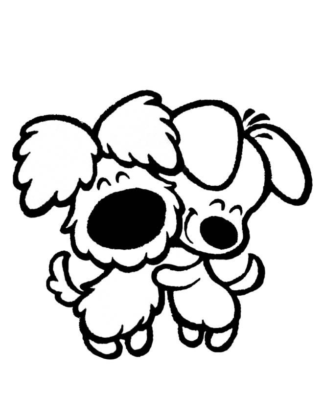 Stampa disegno di cuccioli di cane affettuosi da colorare for Cane da colorare e stampare