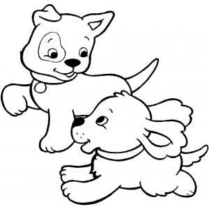 Disegno di cuccioli di cane da colorare per bambini gratis for Disegno gatto facile