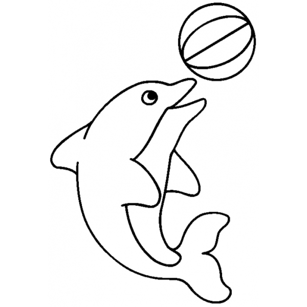 Disegno Di Delfino Con La Palla Da Colorare Per Bambini