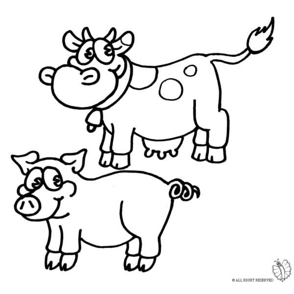 disegno di animali della fattoria da colorare per bambini