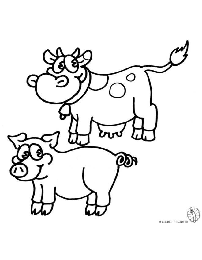 Disegno di animali della fattoria da colorare per bambini for Disegni di cani da stampare e colorare