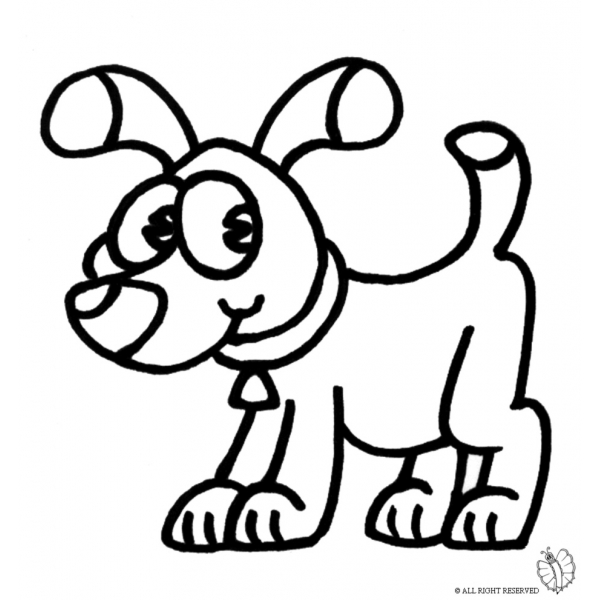Disegno Di Cane Con Collare Da Colorare Per Bambini