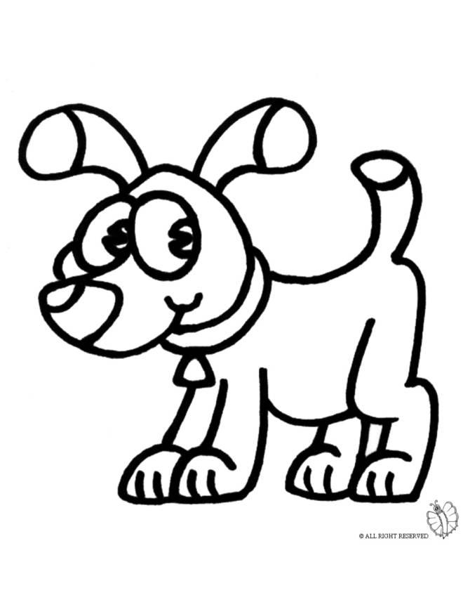 Stampa disegno di cane con collare da colorare for Disegni di cani da stampare e colorare