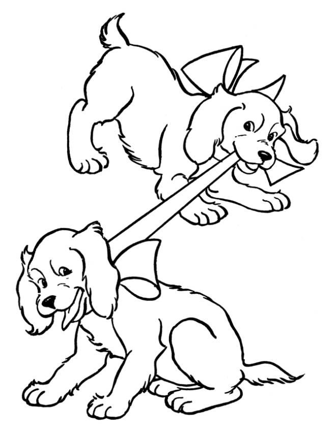 Disegno di cuccioli di coker da colorare per bambini for Cane da disegnare per bambini