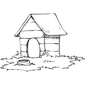 Disegno di casa del cane da colorare per bambini gratis for Disegno del piano online