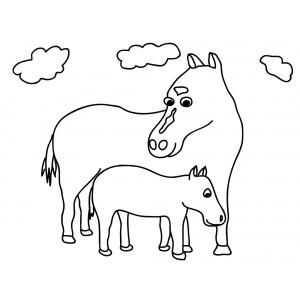 Disegno di cavalli da colorare per bambini gratis for Immagini di cavalli da colorare
