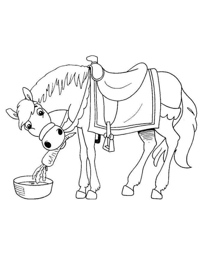 Disegno di il cavallo e la carota da colorare per bambini for Disegno cavallo per bambini