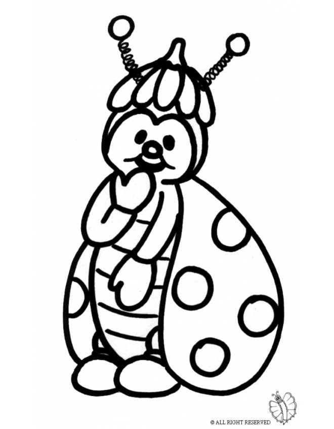 Disegno di coccinella da colorare per bambini - Immagini di animali da stampare gratuitamente ...