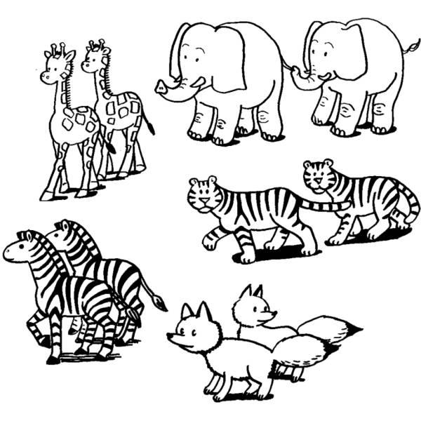 Disegno Di Coppie Di Animali Da Colorare Per Bambini