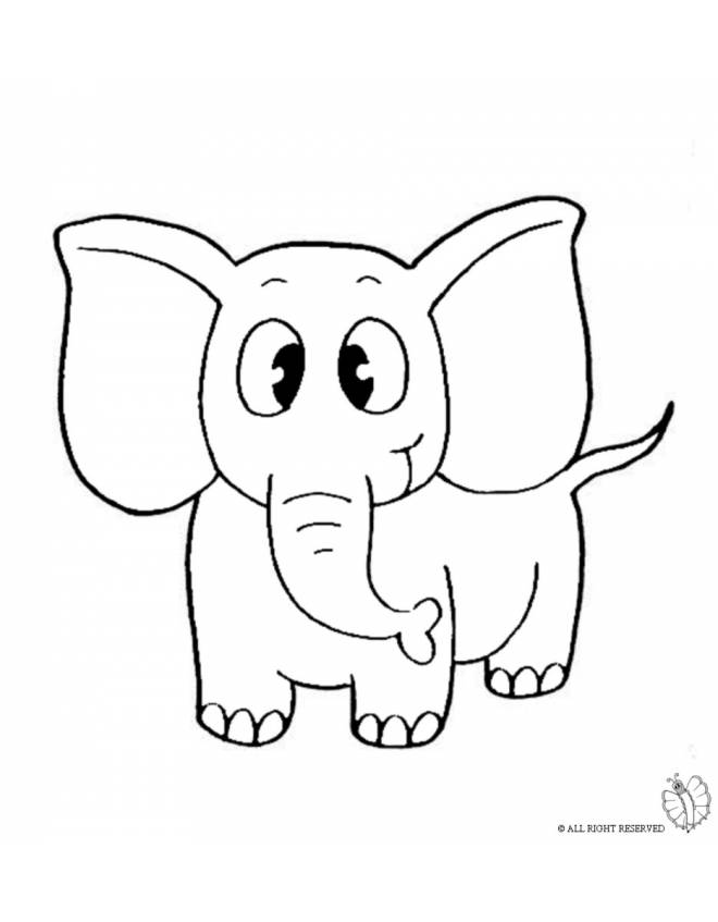Disegno di elefante da colorare per bambini - Immagini di animali da stampare gratuitamente ...