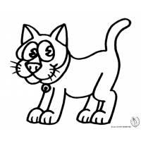 Disegno di Gatto con Collare da colorare