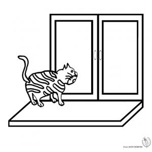 Disegno di gatto sulla finestra da colorare per bambini for Disegno di finestra aperta