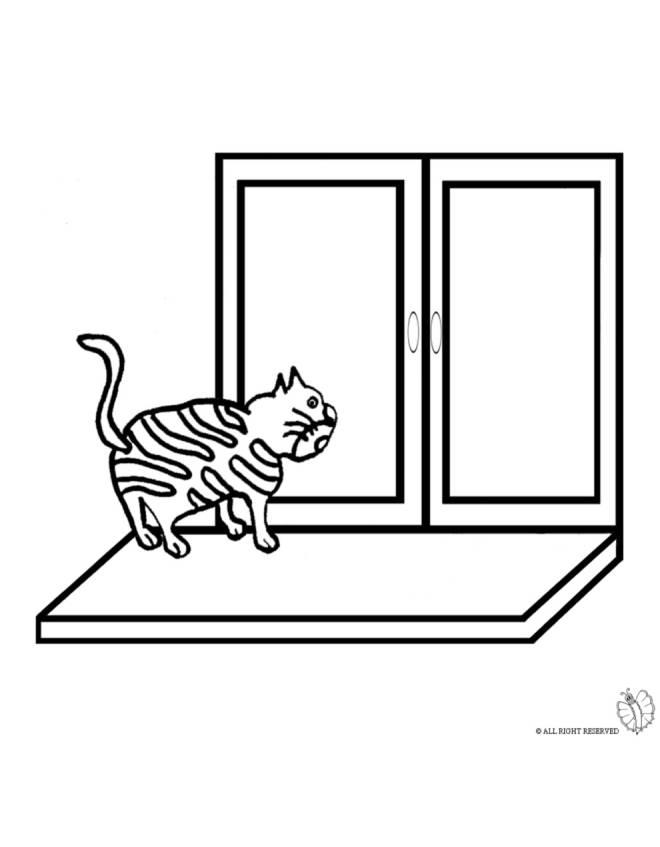 Disegno di gatto sulla finestra da colorare per bambini - Finestra da colorare ...