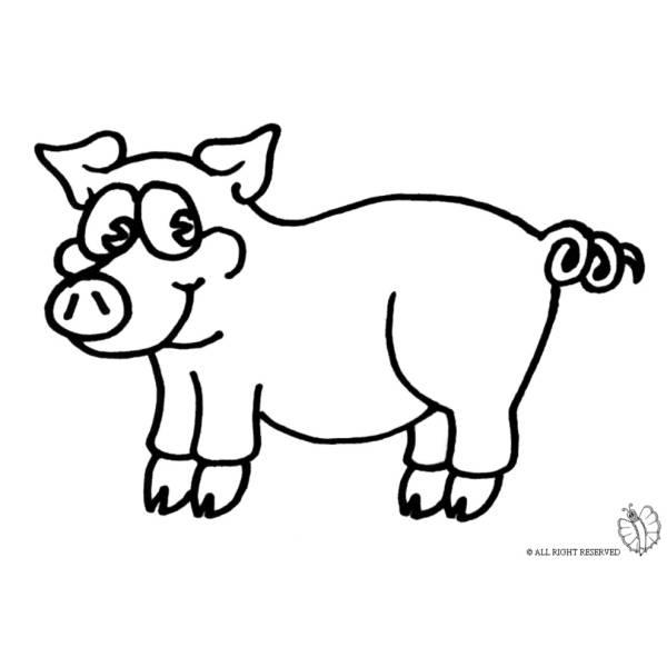 Disegno di maialino da colorare per bambini - Immagini di animali da stampare gratuitamente ...