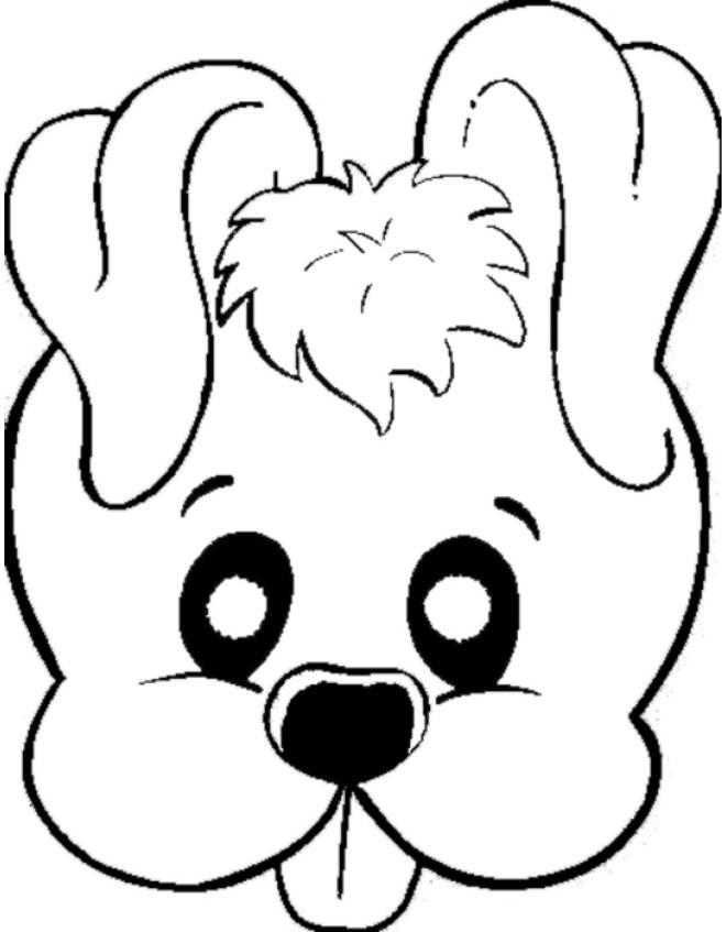 Disegno di maschera di cagnolino da colorare per bambini for Cane da disegnare per bambini