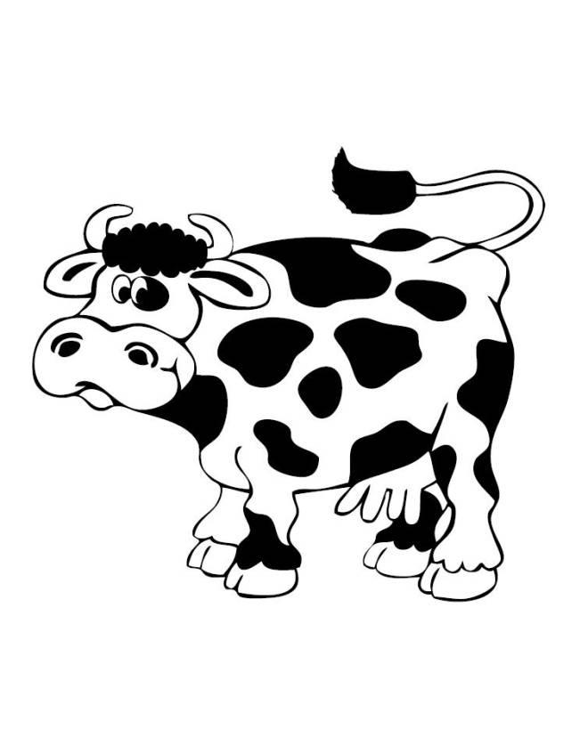 Disegno di mucca con le macchie da colorare per bambini for Fattoria immagini da colorare