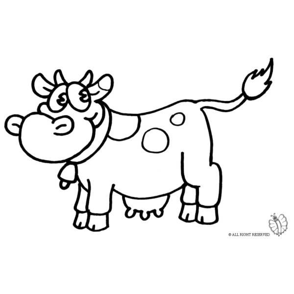 Disegno di mucca da colorare per bambini - Lettere animali da stampare ...