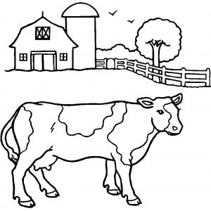 Disegno di mucca della fattoria da colorare per bambini for Disegno della fattoria americana